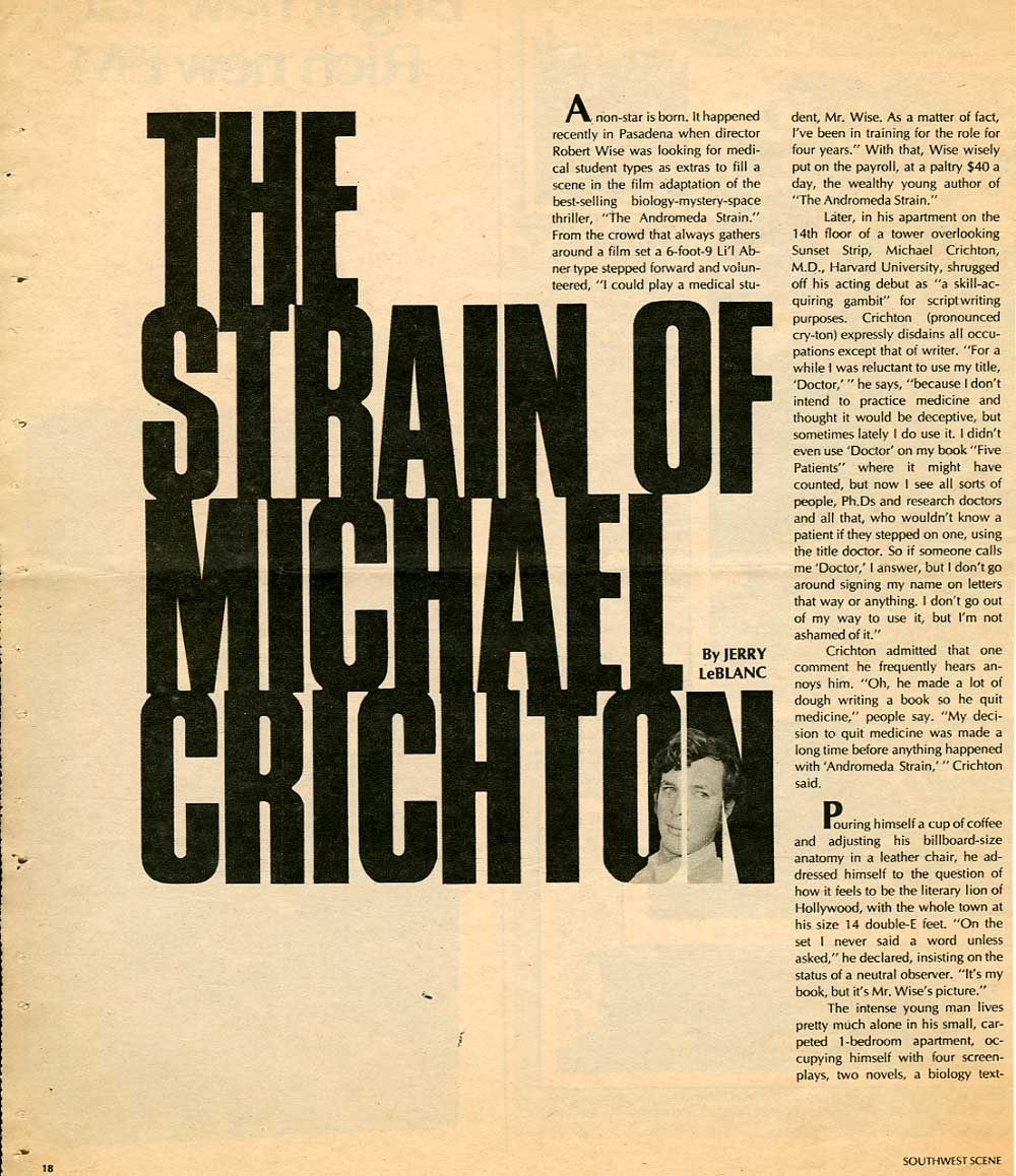 Michael Crichton in Southwest Scene - 1971