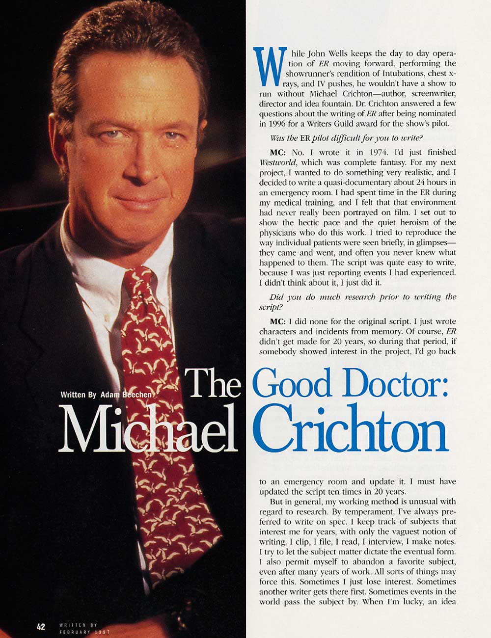 Michael Crichton in Written By Magazine - February 1997