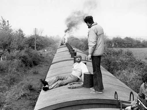 Michael Crichton and Sean Connery filming the train sequence from The Great Train Robbery
