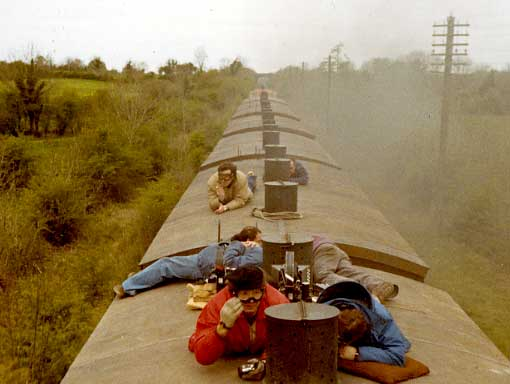 Michael Crichton filming the train sequence from The Great Train Robbery