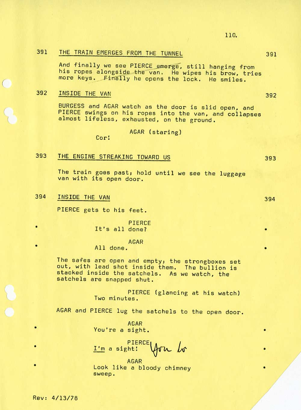The Great Train Robbery Screenplay - Train Sequence