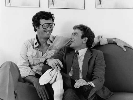 Michael Crichton and Albert Finney on the set of LOOKER