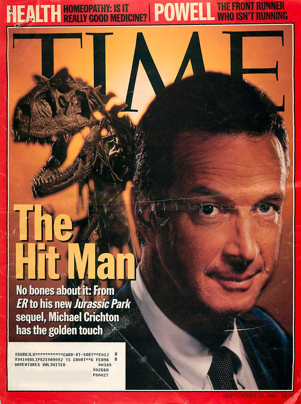 the lost world michaelcrichton com michael crichton and the lost world were featured on the cover of time magazine