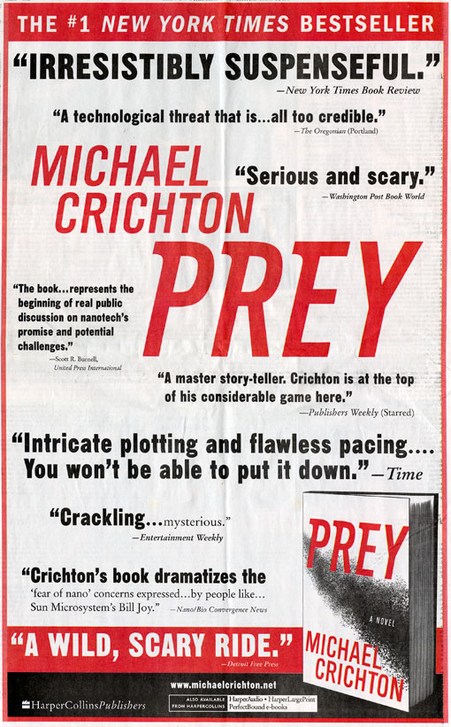 Full Page NY Times Ad for Prey