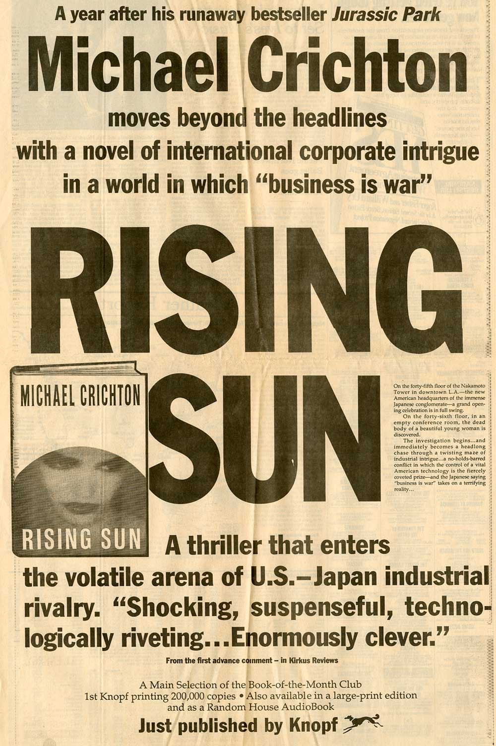 Full Page Ad for Rising Sun - New York Times