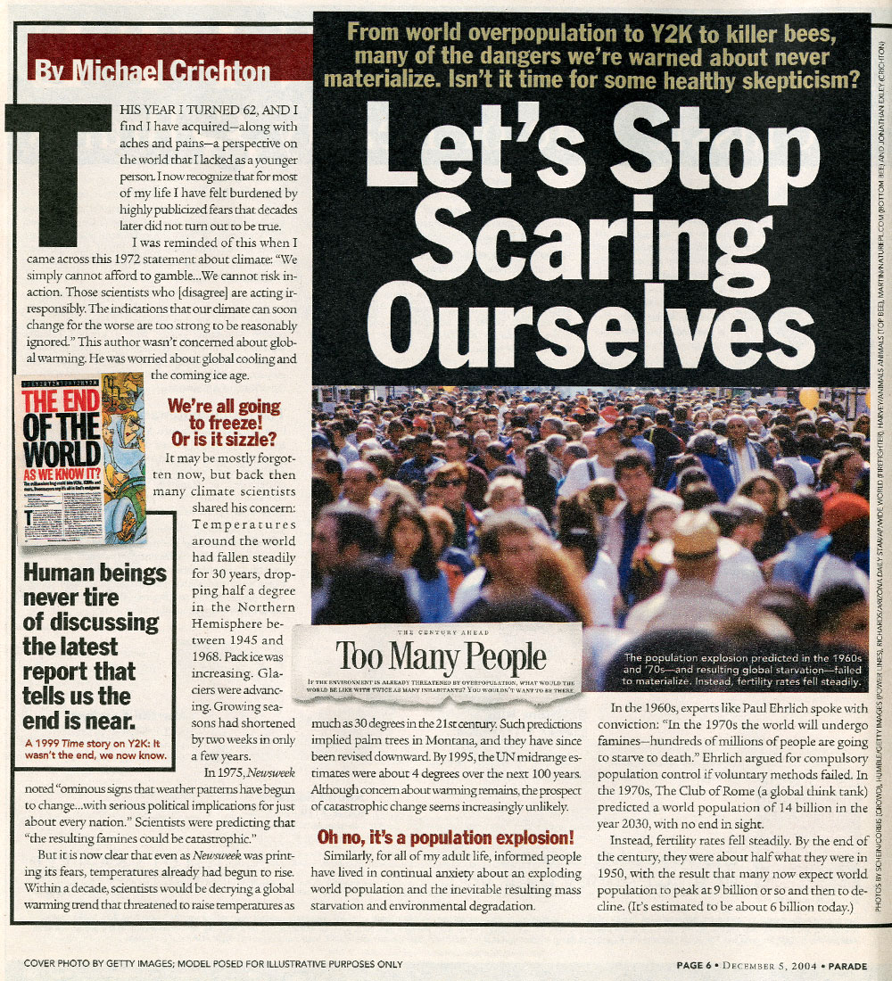 state of fear michaelcrichton com parade magazine let s stop scaring ourselves