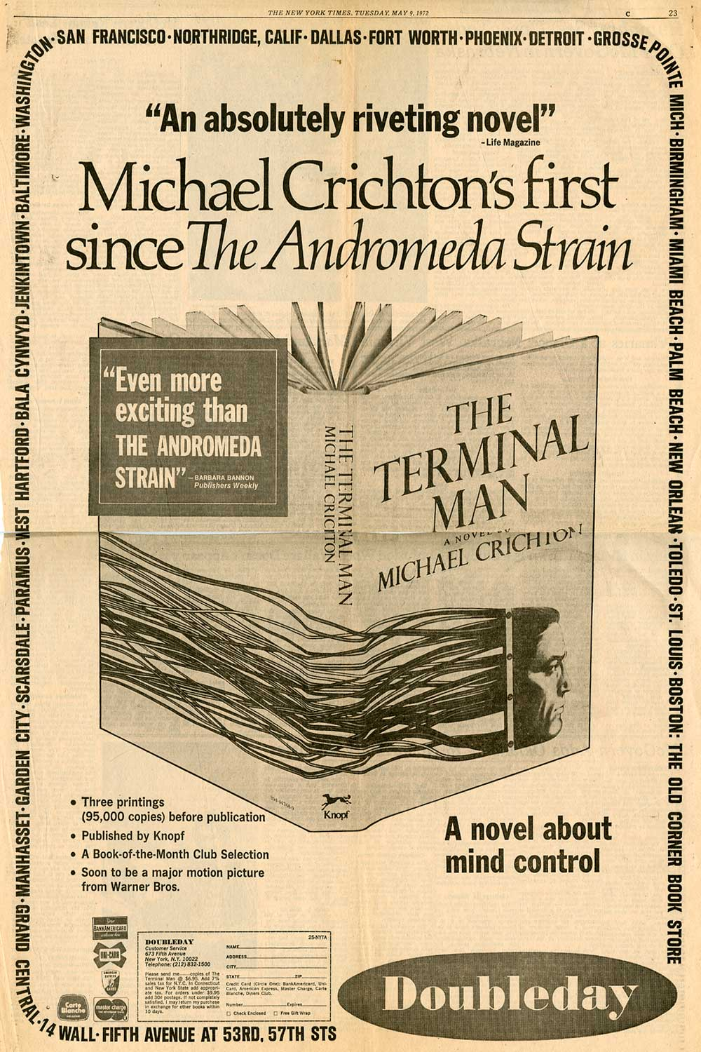 Full Page Ad for THE TERMINAL MAN