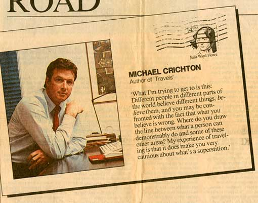 Travels - Michael Crichton in San Diego Union newspaper article