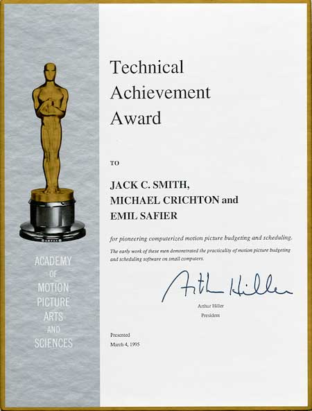 Certificate for Michael Crichton's Academy Award