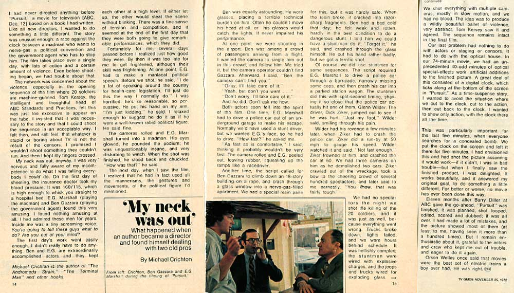 TV Guide article written by Michael Crichton